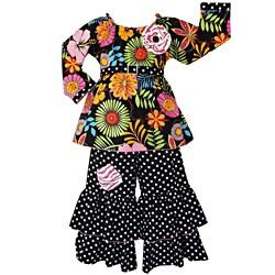 AnnLoren Girls' Wild Flowers Dots/ Zebra 2-piece Outfit