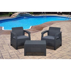 Atlantic 'Mykonos' 3-piece Grey Wicker Balcony Set