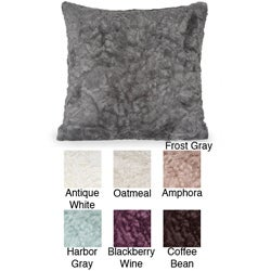 Crinkle 18x18-inch Faux Fur Pillow with Removable Cover