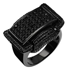Sterling Silver 1 1/2ct Black Diamond Bling Ring