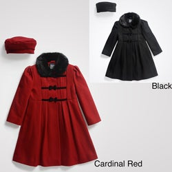 Rothschild Girls' Dress Coat with Matching Beret (Size 2T-6X)