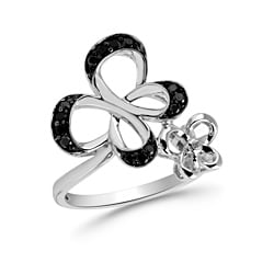 Bridal Symphony Sterling Silver 1/4ct TDW Black Diamond Butterfly Ring