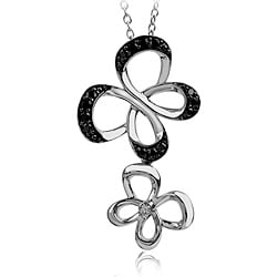 Bridal Symphony Sterling Silver 1/4ct TDW Black and White Diamond Butterfly Necklace