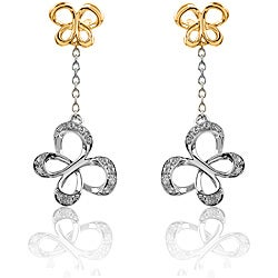 10k Gold and Silver 1/10ct TDW Chain Butterfly Diamond Earrings (I-J, I2-I3)