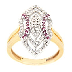 18k Yellow Gold Ruby and 1/3ct TDW Diamond Ring (G-H, SI1-SI2)