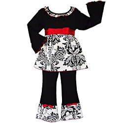 AnnLoren Girls' 2-piece Black/ Red Damask Outfit