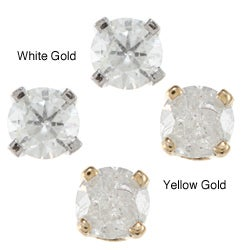 14k Gold 1/5ct TDW Round-cut Diamond Stud Earrings