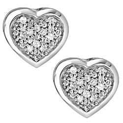 Sterling Silver 1/10ct White Diamond Heart Shaped Earrings
