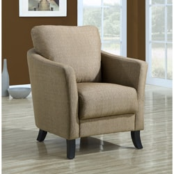 Taupe Linen Fabric Accent Chair