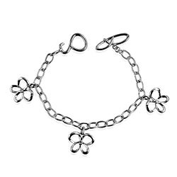 Sterling Silver Diamond Butterfly Charm Bracelet