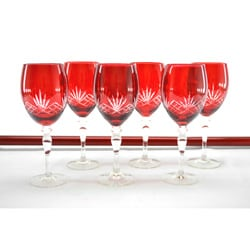 Crystal Red With Clear Etching Wine Glass Set (Set of 6)