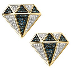 10k Gold 1/2ct TDW Blue and White Diamond Earrings (G-H, I1-I2)