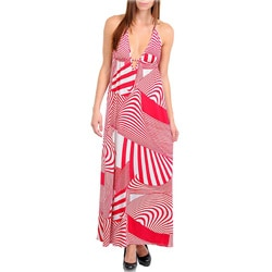 Stanzino Women's Fuchsia Geometric Print Halter Maxi Dress