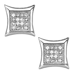 Sterling Silver 1/10ct TDW Diamond Square Earrings (G-H, I2-I3)