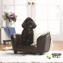 Enchanted Home Pet Brown Basketweave Snuggle Sofa Bed