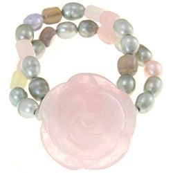 Rose Quartz, FW Pearl, Grey Agate and Serpentine Bracelet (4.5-9 mm)