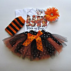 Infant Baby Girl Retro Style Halloween Top and Skirt Tutu Set