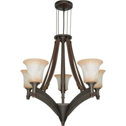 Viceroy 5 Light Chandelier - Golden Umber with Burnt Sienna Glass