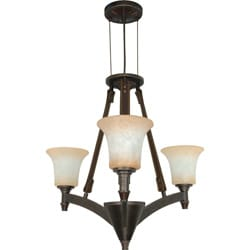 Viceroy 3 Light Chandelier Golden Umber with Burnt Sienna Glass