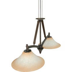 Viceroy 2 Light Chandelier Golden Umber with Burnt Sienna Glass