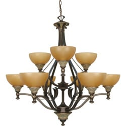 Rockport Tuscano 9 Light Chandelier Dorado Bronze with Sepia Colored Glass Shades