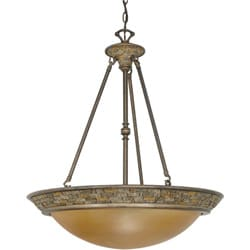 Rockport Tuscano 4 Light Pendant Dorado Bronze with Sepia Colored Glass Shades