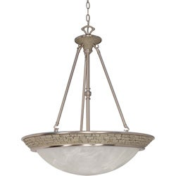Rockport Milano 4 Light Pendant Brushed Nickel with Alabaster Swirl Glass Shades