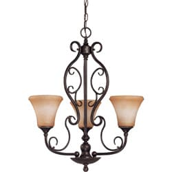 Windermere 3 Light Chandelier Golden Umber with Toffee Crunch Glass