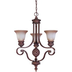 Wesley 3-light Arm Up Dark Plum Bronze With Amber Bisque Glass Chandelier
