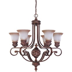 Wesley 6-light Dark Plum Bronze With Amber Bisque Glass Chandelier