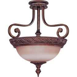 Wesley 3-light Semi-flush Dark Plum Bronze With Amber Bisque Glass