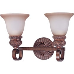 Wesley 2-light Dark Plum Bronze With Amber Bisque Glass Vanity
