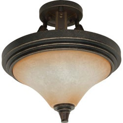 Viceroy 2-light Golden Umber With Burnt Sienna Glass Energy Star Semi Flush