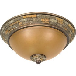 Rockport Tuscano 2-light Sepia Glass Dorado Bronze Flush Dome Fixture