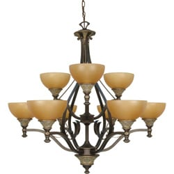 Rockport Tuscano Sepia Glass Dorado Bronze 9-light Chandelier