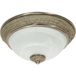 Rockport Milano Brushed Nickel Alabaster Glass 2-light Flush Dome Fixture