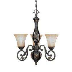 Brussells 3 Light Chandelier Belgium Bronze with Fresco Glass