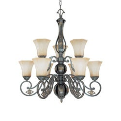 Brussells 9 Light 2 Tier Chandelier Belgium Bronze with Fresco Glass