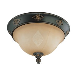 Brussells 2 Light 13 inch Flush Dome Belgium Bronze with Fresco Glass