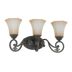 Brussells 3 Light Belgium Bronze With Fresco Glass Vanity