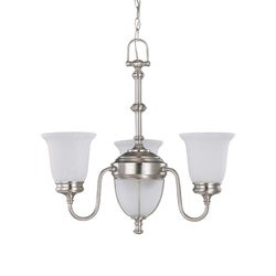 Salem 3 Light Chandelier Brushed Nickel with Frosted Linen Glass
