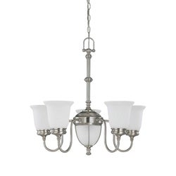 Salem 5 + 2 Light Brushed Nickel With Frosted Linen Glass Chandelier