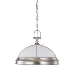 Salem 1 Light Brushed Nickel With Frosted Linen Glass Hanging Dome