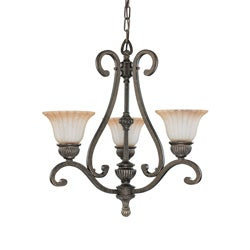 Fortunata 3 Light Lisbon Bronze With Corvo Amber Wash Glass Chandelier