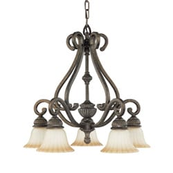 Fortunata 5 Light Lisbon Bronze With Corvo Amber Wash Glass Arm Down Chandelier