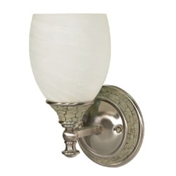 Rockport Milano 1 Light Brushed Nickel With Alabaster Swirl Glass Vanity