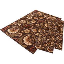 Elegance Collection Brown Area Rug (Set of 3)