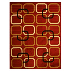 Pat Squares Abstract Red Rug (3'3 x 4'6)