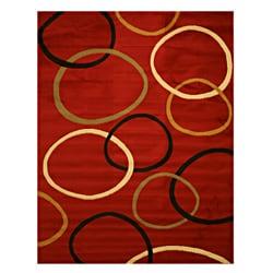 Pat Circles Abstract Red Rug (3'3 x 4'6)