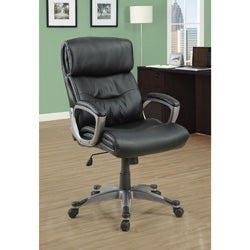 Black Padded Leather-Look Executive Office Chair